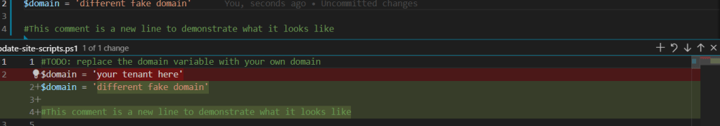 Blue bar on side indicates changed lines, and the diff is shown below