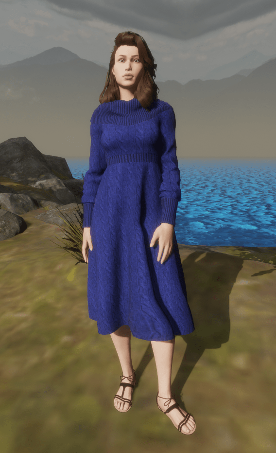 Debi Baskerville Blue Cowl Neck Dress 23 Dec 2017