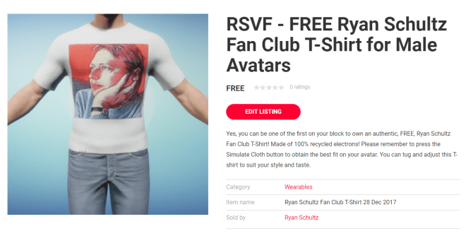 Listing for Ryan Schultz Fan Club T-Shirt 28 Dec 2017