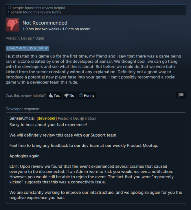 Sansar Steam Negative Review 7 Dec 2018.png