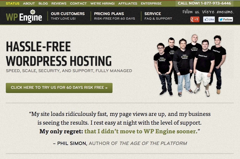 WP Engine Homepage