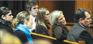 The Vantrease family listens as Austin Vantrease is convicted of Felony Malicious Assault. Pictured (L to R) siblings Cody, and Andraya, and parents Gale, Bob.