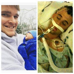 Left: Austin Vantrease with a vulnerable baby. Right: Ryan Diviney in coma from indefensible assault by Austin Vantrease.