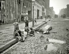 Kids Play Near a Dead Horse NYC, 1900s