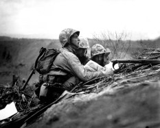 Observer Locates a Machine Gun Nest on a Map, Iwo Jima, February 1945 (Original from shorpy.com)