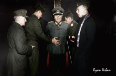 German General, Anton Dostler Being Tied To A Stake Before His Execution By Firing Squad. Aversa, Italy, 1945