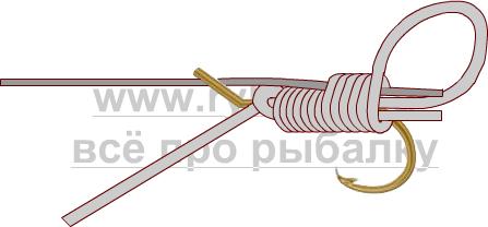 釣りノード - フックスライディングスヌード画像を綴じる方法4