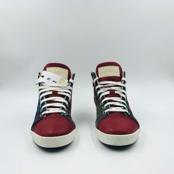 Multicolor Gobelin fabric with Red Leather RYC & RICH-YCLED Handmade Shoes From Italy