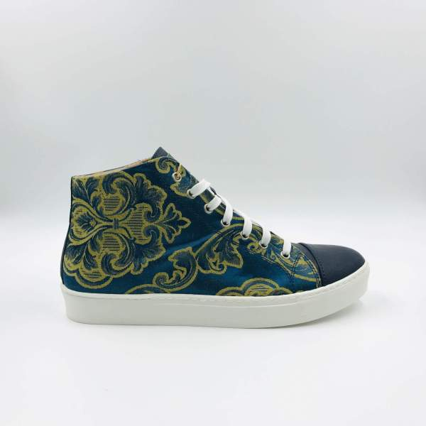 Gold floral silk damask with Peacock blue RYC & RICH-YCLED Handmade Shoes From Italy