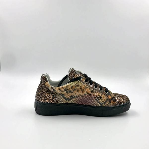 Fire Gold Python with Multicolored Glitter Leather