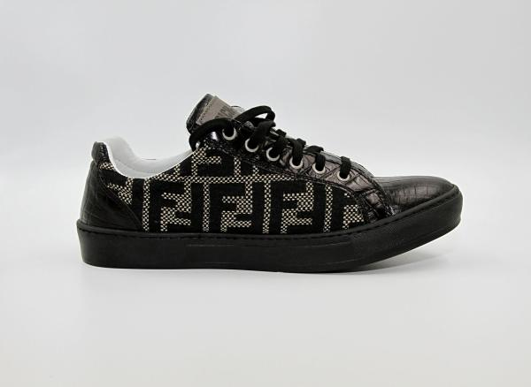 Black & Beige couture fabric with oil black leather RYC & RICH-YCLED Handmade Shoes From Italy €350
