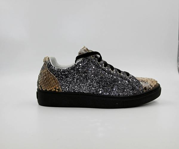 iron glittered silver Leather with dark latte python leather RYC & RICH-YCLED Handmade Shoes From Italy
