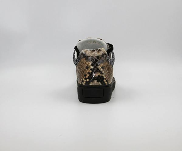 iron glittered silver Leather with dark latte python leather RYC & RICH-YCLED Handmade Shoes From Italy €395