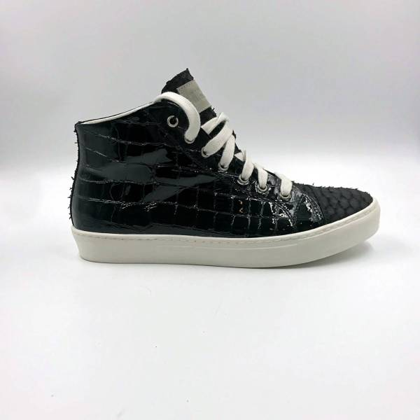 shiny Black coco leather with charcoal black snake leather RYC & RICH-YCLED Handmade Shoes From Italy