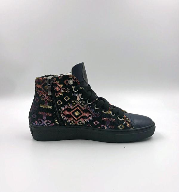 Aztec multicolor gobelin with Midnight blue leather RYC & RICH-YCLED Handmade Shoes From Italy €285