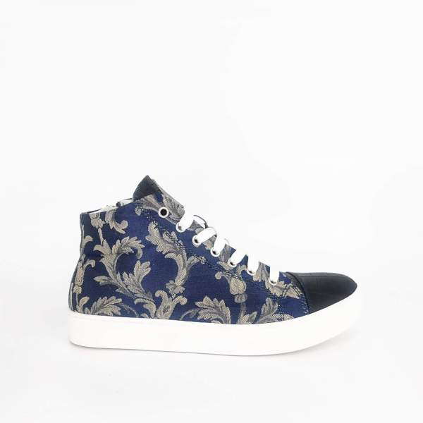 blue & gold damask with Blue leather RYC & RICH-YCLED Handmade Shoes From Italy
