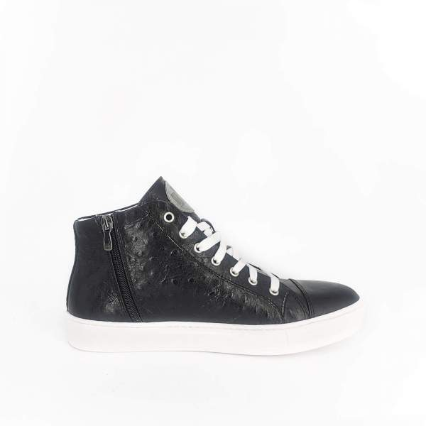 Ostrich black leather RYC & RICH-YCLED Handmade Shoes From Italy