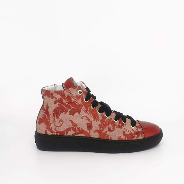 blush pink & red damask fabric with Red coco leather RYC & RICH-YCLED Handmade Shoes From Italy