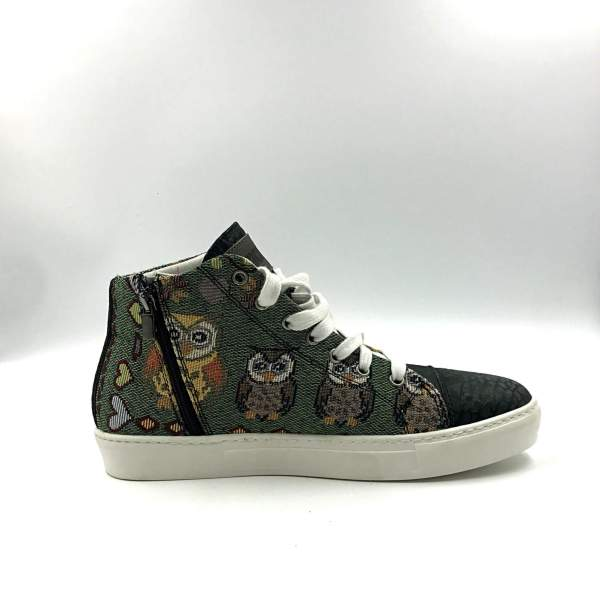 multicolor gobelin fabric with shimmery green leather RYC & RICH-YCLED Handmade Shoes From Italy