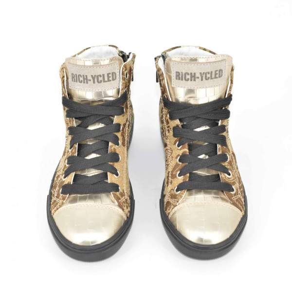 Golden Damascato & Gold coco leather RYC & RICH-YCLED Handmade Shoes From Italy €280