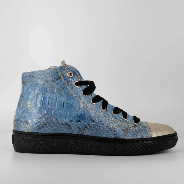 crisp blue Python & gold coco leather RYC & RICH-YCLED Handmade Shoes From Italy