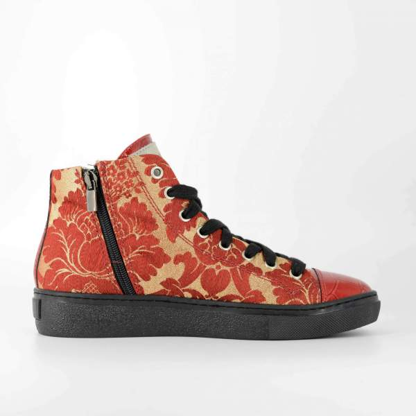 Red'n gold decored Baroccato with red coco leather RYC & RICH-YCLED Handmade Shoes From Italy