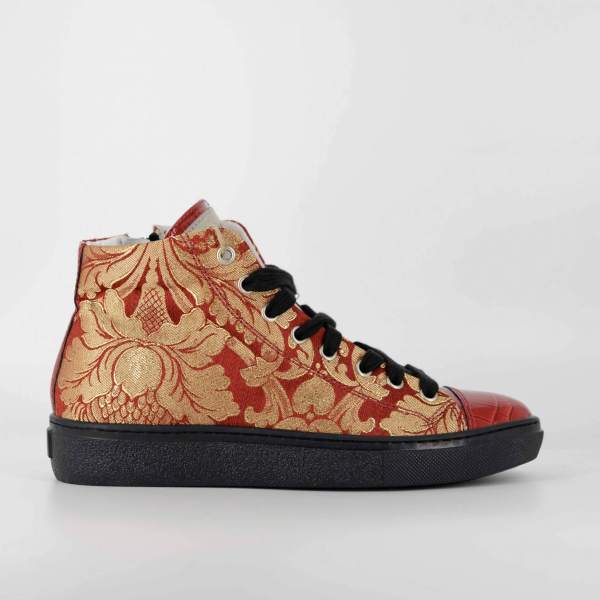 Red'n gold decored Baroccato with red coco leather RYC & RICH-YCLED Handmade Shoes From Italy €285