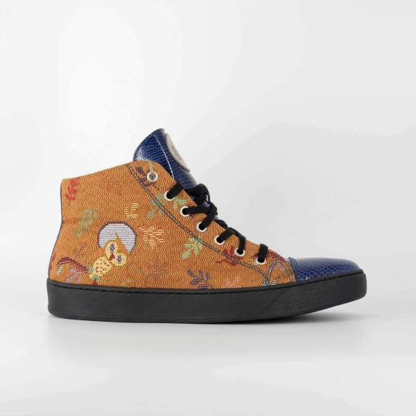 orange owl Goblin & blue tex leather RYC & RICH-YCLED Handmade Shoes From Italy