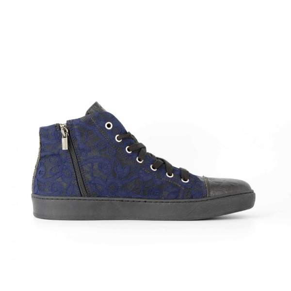 Blue baroccato & black coco RYC & RICH-YCLED Handmade Shoes From Italy €285
