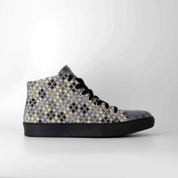 piquadro Piedipull with gray marbled coco leather RYC & RICH-YCLED Handmade Shoes From Italy €290