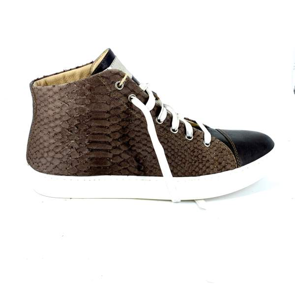 Mid Brown Snake with dark brown calf leather RYC & RICH-YCLED Handmade Shoes From Italy