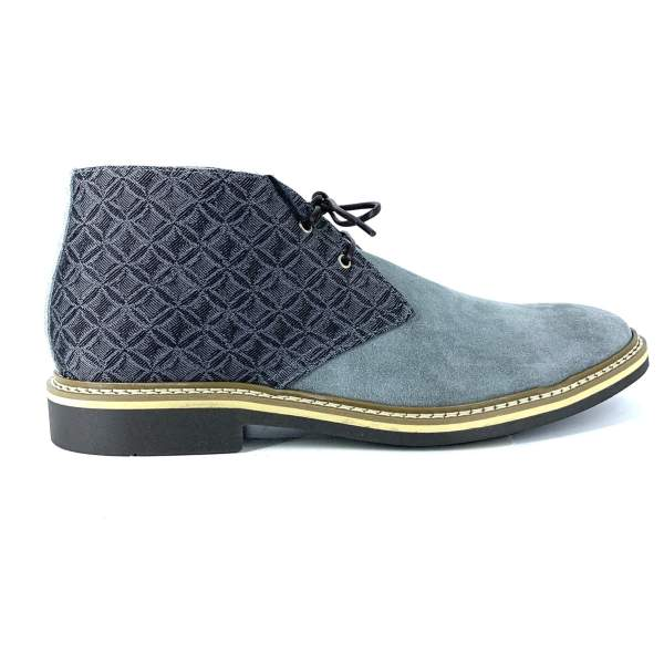 Squared Grey Piedipull decored with grey suede RYC & RICH-YCLED Handmade Shoes From Italy