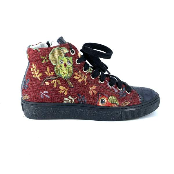 RED OWL GOBLIN & DARK BLUE coco leather RYC & RICH-YCLED Handmade Shoes From Italy