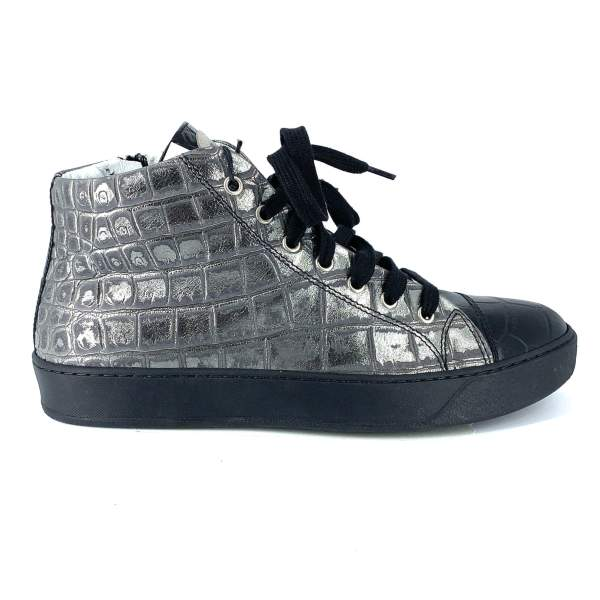 Shiny Grey with black coco leather RYC & RICH-YCLED Handmade Shoes From Italy