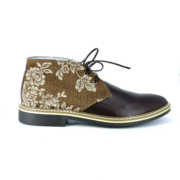 light brown decored baroccato with soft brown leather RYC & RICH-YCLED Handmade Shoes From Italy