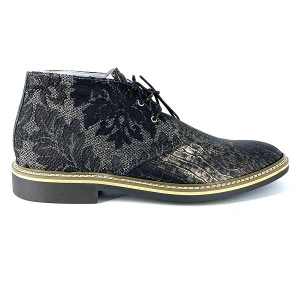 Black'n beige baroccato with black'n gold maltinto leather RYC & RICH-YCLED Handmade Shoes From Italy 250€