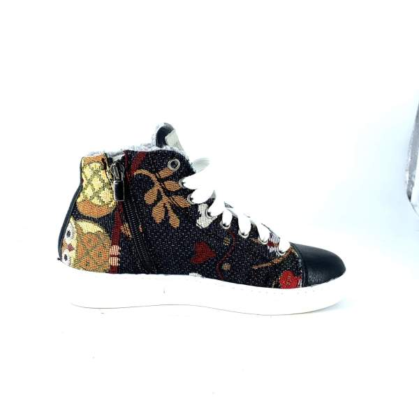 Dark owl GOBELIN FABRIC WITH Black LEATHER RYC & RICH-YCLED Handmade Shoes From Italy 189€