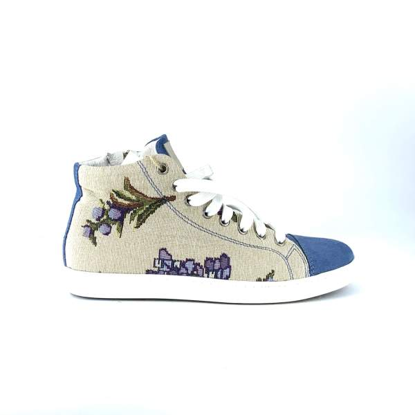 Flower gobelin with soft blue suede RYC & RICH-YCLED Handmade Shoes From Italy €179