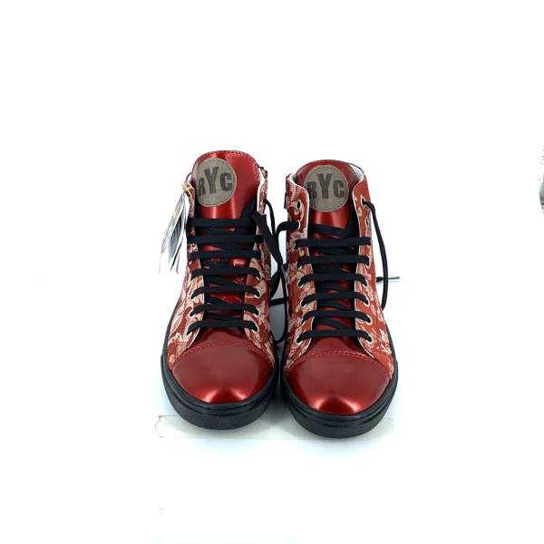Red n' white damascato with glossy red leather RYC & RICH-YCLED Handmade Shoes From Italy €275