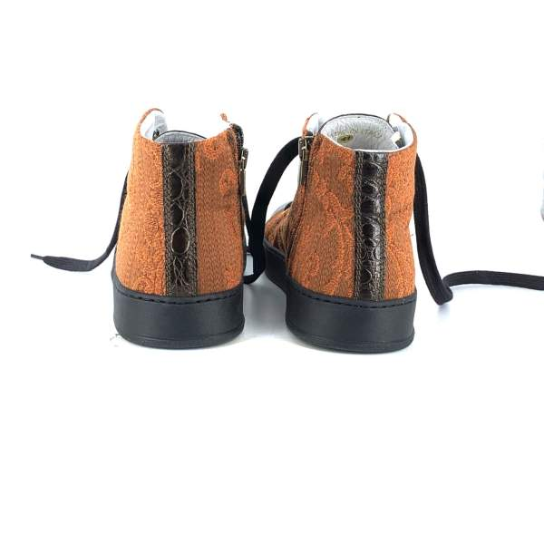 Comfy orange baroccato with deep brown coco leather RYC & RICH-YCLED Handmade Shoes From Italy 270€