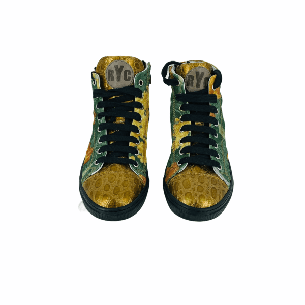 Big orange floral and green DAMASCATO with Gloden coco leather RYC & RICH-YCLED Handmade Shoes From Italy 270€