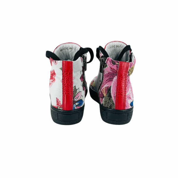 Multi color Floral DAMASCATO WITH apple red coco leather RYC & RICH-YCLED Handmade Shoes From Italy 280€