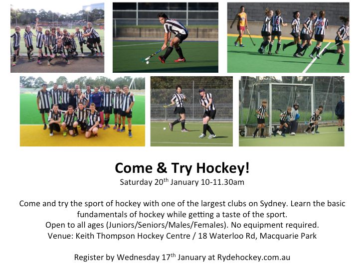 Come & try hockey with Ryde Hockey Club