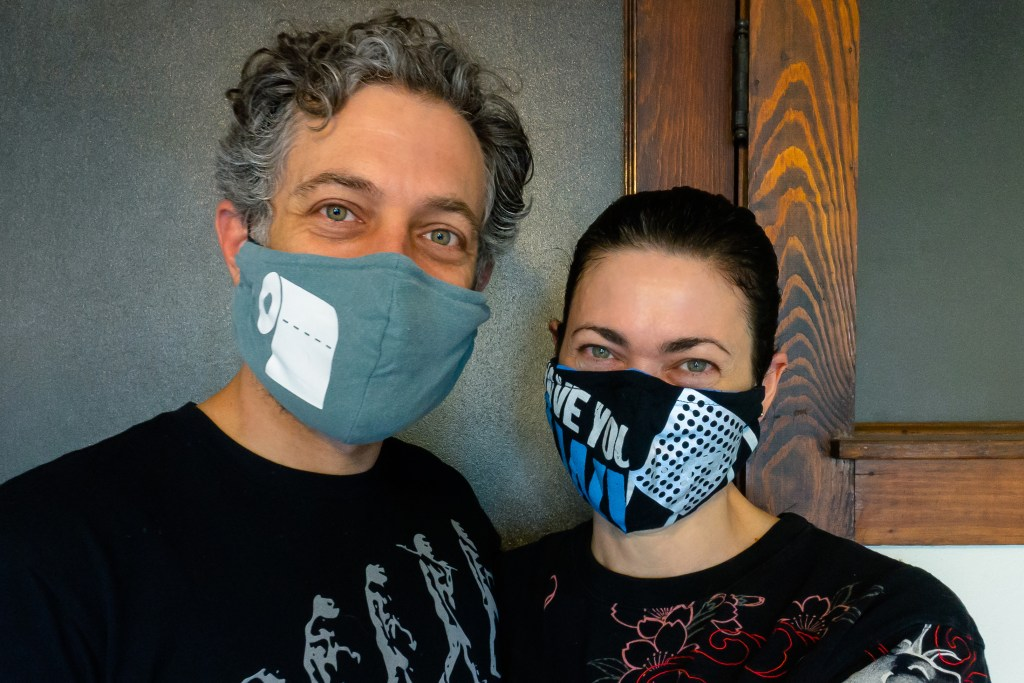 sue anne and ryder wearing masks
