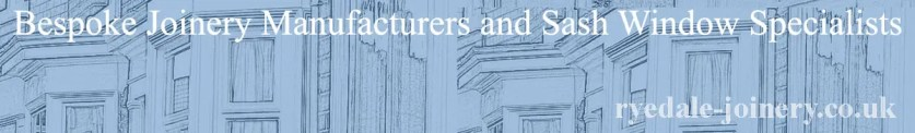 Ryedale Joinery Services Header Image showing various sash windows on a blue background.