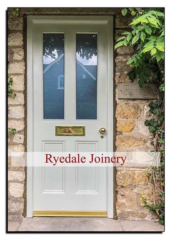A new bespoke external front door manufactured in Accoya by Ryedale Joinery .