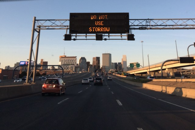 "Light-up traffic sign with ""Do Not Use Storrow"" displayed"