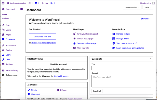 The WordPress Dashboard, using browser default colors.