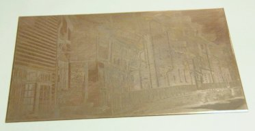 All Saints street etched copper plate showing lines in copper.