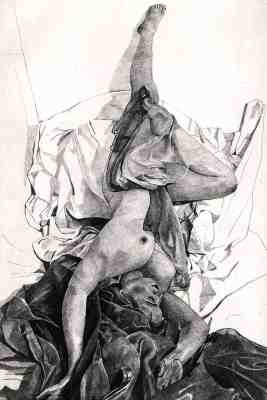 SALOME TUMBLING - Veiled nude tumbling in a sea of crumpled sheets and cloth drapery. Limited edition etching by Colin Bailey  Click here to see larger more detailed image and view purchasing options